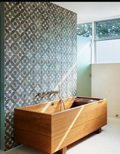 Deep-Soaking Japanese Bathtubs Turn The Bathroom Into A Spa/ loved the tile