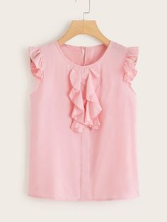 Shein Ruffle Trim Button Keyhole Back Blouse Pink Outfits, Dress Outfits, Fashion Dresses, Kids Winter Fashion, Kids Fashion, Blouse Styles, Blouse Designs, Royal Clothing, Summer Shirts