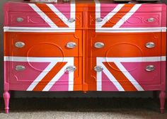 Union Jack in Orange and PInk
