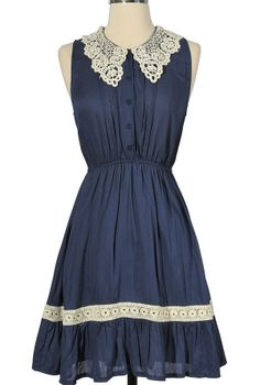 Mary Crochet Collar Dress in Blue