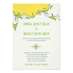 Yellow Green Floral Garland Wedding Invitation from Zazzle.com