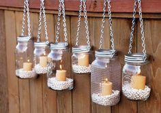 Hanging Mason Jar Lights Fence Decor