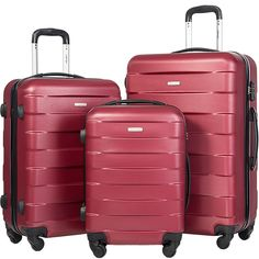 Merax MT Imagine TSA Luggage Set 3 Piece Spinner Suitcase (Wine Red)