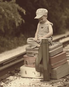 Vintage train track photos for little boys. {4 yr old birthday photo shoot/ideas} {Boy Photography}