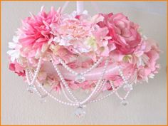Shabby Pink and Pearl Chandelier
