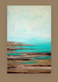 Ocean Seascape Acrylic Abstract Painting by OraBirenbaumArt