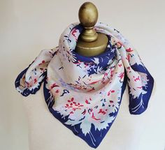 Your place to buy and sell all things handmade Pastel Floral, 40s Fashion, Neckerchiefs, Vintage Scarf, Floral Scarf, 1940s, Floral Design, Scarves, Silk