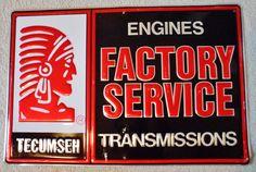 """Vintage Tecumseh """"Factory Service"""" Sign, circa 1970's"""
