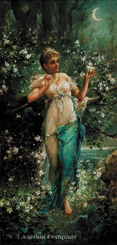 """Beautiful Girl in Moonlight"" by Hans Zatzka, (1859–1945) Austria. Zatka's work is now sold internationally in galleries and auction houses, fetching large sums of money. In 2004, Somalia published special stamps with four motifs of images Zatzka: harem dancer, nymphs, spring goddess, and night sky."