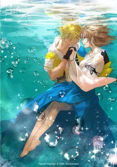 Tags: Anime, Pixiv Id 2544856, Final Fantasy X, Yuna, Tidus, Water Bubbles, Underwater
