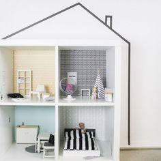 Wandfolie Lille Stuba Ikea Puppenhaus Kallax Regal Senf