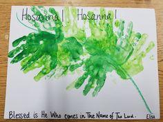 Palm Sunday craft for preschool. Hand print palms.