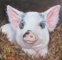 RESERVED FOR CANDICE  Spotty the Pig  Original by ChatterBoxArt, $100.00