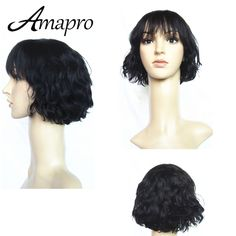 10inch Natural Cheap Hair Wig Body Wave Brazilian Wigs with Bangs 100 Human Hair Wigs For African Americans Post Mail Free Ship