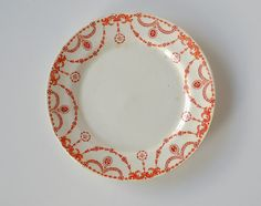 This is a really unusual little piece of Dublin and Irish history. This red ornately-designed transferware plate is a piece of Tuscan China from England Red Plates, Vintage China, Dublin, Irish, Decorative Plates, England, Stamp, History, Unique Jewelry