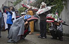First Nations' participants whear traditional masks while waiting to take part in a Truth and Reconciliation march in Vancouver Indian Residential Schools, Downtown Vancouver, First Nations, Native American, Masks, Waiting, The Past, September 22, Traditional