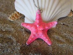 "Item: Pink Glittered Knobby Starfish Mermaid Necklace  Starfish: Starfish Range from 1"" to 2""  Necklace Description: Stainless Steel Chain, Size 1.5 mm, Approx. 17 inches long with Lobster Clasp https://www.etsy.com/shop/HeavenlyMermaidHair"
