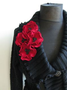 Cropped Asymmetrical Black Sweater with Red Poppies Sweater Flowers / Upcycled Clothing / Women Tops Sweaters / Shrug Cardigan / Size M/L