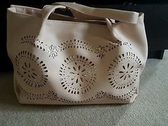 NEW LOOK NUDE PINK GOLD SLOUCHY LASER CUT TOTE SHOPPER BAG HANDBAG BEACH BAG