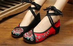 Chinese Embroidered Floral Shoes Women Ballerina Mary Jane Flat Ballet Cotton Loafer Red and Black 38