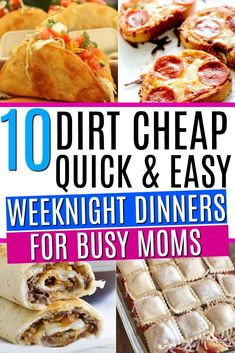 10 quick and easy weeknight dinners on a budget. These weeknight dinners are perfect for feeding your family for cheap. 15 minute kid friendly dinners perfect for busy moms! dinner 10 Quick & Easy Weeknight Dinners On A Budget - Mommy Can't Afford That Cheap Easy Meals, Easy Weeknight Dinners, Frugal Meals, Quick Easy Meals, Budget Dinners, Fast Easy Dinner, Recipes On A Budget, Quick Easy Lunch Ideas, Cheap Family Dinners