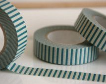 Washi Tape in Beige and Celadon Blue Stripes - ONE ROLL