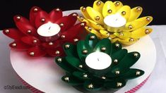 diy christmas candle holder craft using plastic spoons, crafts