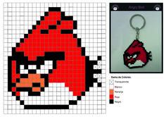 Patrón Hama Beads de Angry Bird Rojo