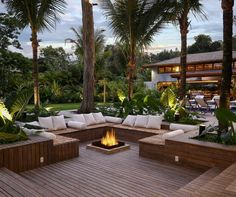 Backyard seating with wooden decking and firepit.#Backyard #seating #woodendecking #firepit Small Backyard Design, Small Backyard Patio, Backyard Patio Designs, Backyard Ideas, Patio Ideas, Outdoor Patios, Deck Fire Pit, Fire Pit Backyard, Fire Pit Near Pool