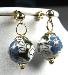 14kt Gold Chinese Cloisonne Enamel Dangling Ball Boho Earrings 1970s Posts Blue White Gold by JewelryDiscoveries on Etsy