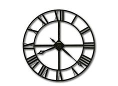 "Mark the passage of time in classic style with this wrought-iron 32"" Lacy wall clock. Stamped Roman numerals are finished in dark charcoal gray, and the diamond-shaped hour and minute hands are enhanced with silver edging. The minimalist look is industrial, rustic and can work in both contemporary and traditional settings."