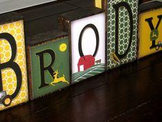 Personalized Little Boy Name Blocks  John Deere by knottyblocks, $5.00