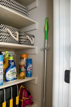 Adding a broom hanger to a previously wasted space is the perfect organizing hack in this former coat closet. Still hate cleaning the house, but these tips make it easier Bedroom Closet Storage, Entry Closet, Ikea Closet, Linen Closet Organization, Hall Closet, Organization Ideas, Storage Closets, Closet Redo, Attic Closet