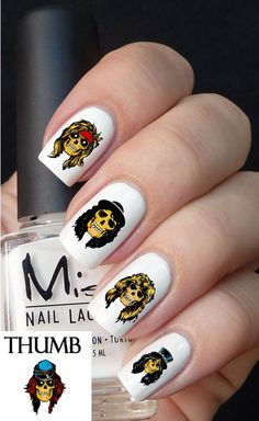 Guns N roses skulls nail Decal by DesignerNails on Etsy, $3.95