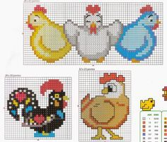 Joquebede Jacobsen: Galinhas! Chicken Cross Stitch, Cross Stitch Bird, Cross Stitch Animals, Cross Stitch Charts, Cross Stitch Embroidery, Embroidery Patterns, Cross Stitch Patterns, Chicken Crafts, Pattern Blocks
