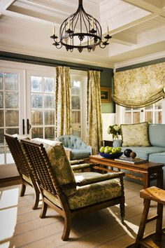 California Cottage - traditional - family room - san francisco - by Jana Happel Interior Design Window Design, Door Design, House Design, Cottage Design, Traditional Home Magazine, Dark Green Walls, San Francisco, Beautiful Home Designs, Beautiful Homes