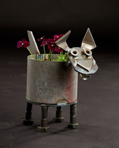 Made of recycled industrial scrap metal, this dog planter will fit standard medium size pots The planter will drain water out the bottom. Recycled Metal Art, Scrap Metal Art, Welding Caps, Metal Fab, Metal Yard Art, Metal Art Sculpture, Junk Art, Iron Work, Animal Projects