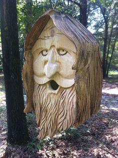 Wood Spirit Unique Old Man Rustic Hand Carved Cedar Bird House Large   eBay