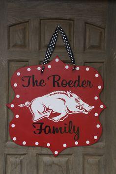 Offically Licensed Collegiate Custom Arkansas Razorback Door Hanger. $39.00, via Etsy.