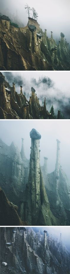 Otherworldly 'Earth Pyramids' Captured in the Foggy Early Morning Light by Photographer Kilian Schönberger