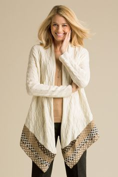 Drape Front Cable Cardigan: Classic Women's Clothing from #ChadwicksofBoston $34.99
