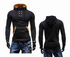 Mens Novel Double Breasted Hoodie Color Splicing 8 Buttons Slim Fit Sweatshirts at Banggood