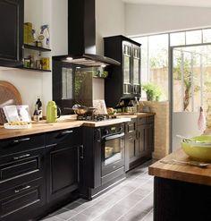 Un cuisine bistrot chez Lapeyre - 15 cuisines esprit bistrot - CôtéMaison.fr #kitchendesign