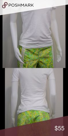 "Lilly Pulitzer Liza Short NWOT perfect condition! Lilly Pulitzer Liza Short in Crazy Cat House Sweet Tart print with dot lace accent. 3"" inseam. Back zipper closure with tab button. Size 8. Lilly Pulitzer Shorts"