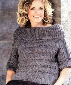пуловер поперечным вязанием.
