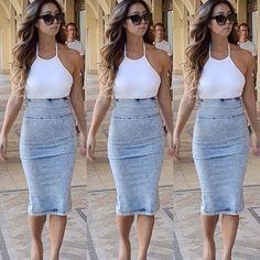 Long high waist Jean skirt and white crop top