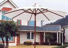 Tons of Deals Decor | Market Outdoor Umbrellas - 8 Foot Thru 11 Foot - Regular - 8 Ribs. Our umbrellas are made of high quality wood, fabric and metal fittings.  Each umbrella is engineered for easy handling and long lasting performance.  We use only premium wood.   Our fabric is made with Olefin, Canvas, or Polyester and is 3M Scotchguard treated to minimize fading and mildew.  All fittings are either solid brass (deluxe model), or aluminum which are strong and rust-free. 3 yr. warranty.