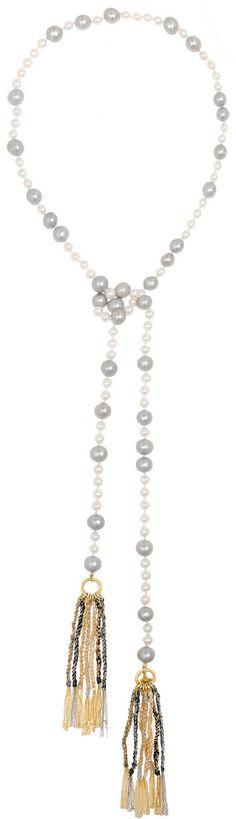 CAROLINA BUCCI Nana 18-karat gold, pearl and silk necklace