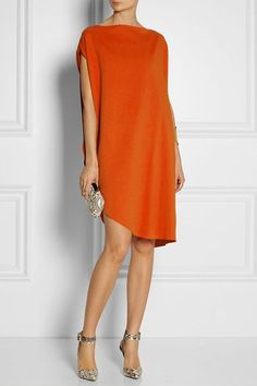 Calvin Klein Collection Tamara draped piqué dress - Love everything about this outfit. Look Fashion, Womens Fashion, Fashion Trends, Short Dresses, Summer Dresses, Orange Dress, Dress Black, Mode Outfits, Mode Inspiration