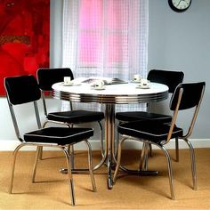 gg baxton studio 5 piece modern dining set 2. this 5 piece retro dining set with round table and 4 chairs would be a great addition to your home. it has chrome frame is made of vinyl fabric. gg baxton studio modern 2 o